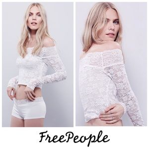 Free People Barely There Off the Shoulder Lace Top